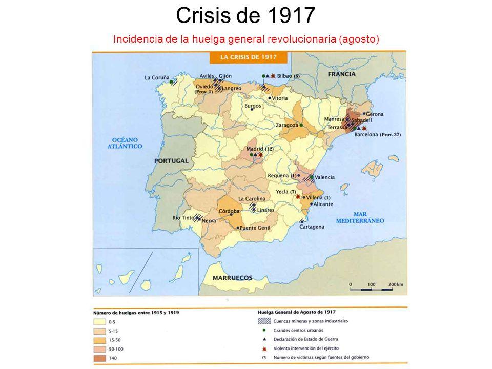 Crisis de 1917 Incidencia de la huelga general revolucionaria (agosto)