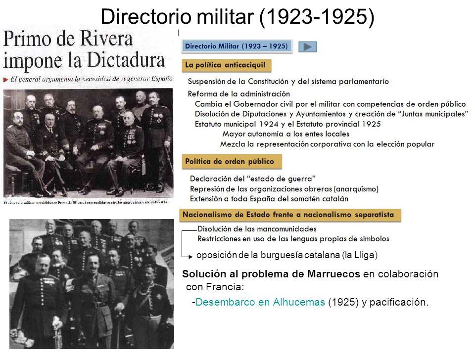 Directorio militar (1923-1925) oposición de la burguesía catalana (la Lliga) Solución al problema de Marruecos en colaboración con Francia: -Desembarc