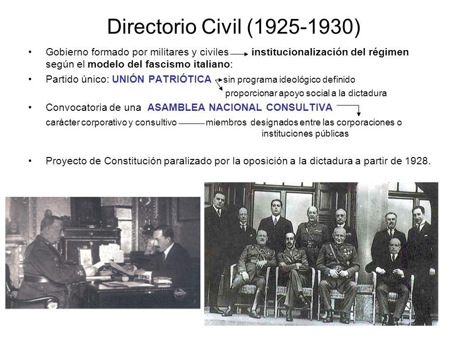 Directorio Civil (1925-1930) Gobierno formado por militares y civiles institucionalización del régimen según el modelo del fascismo italiano: Partido