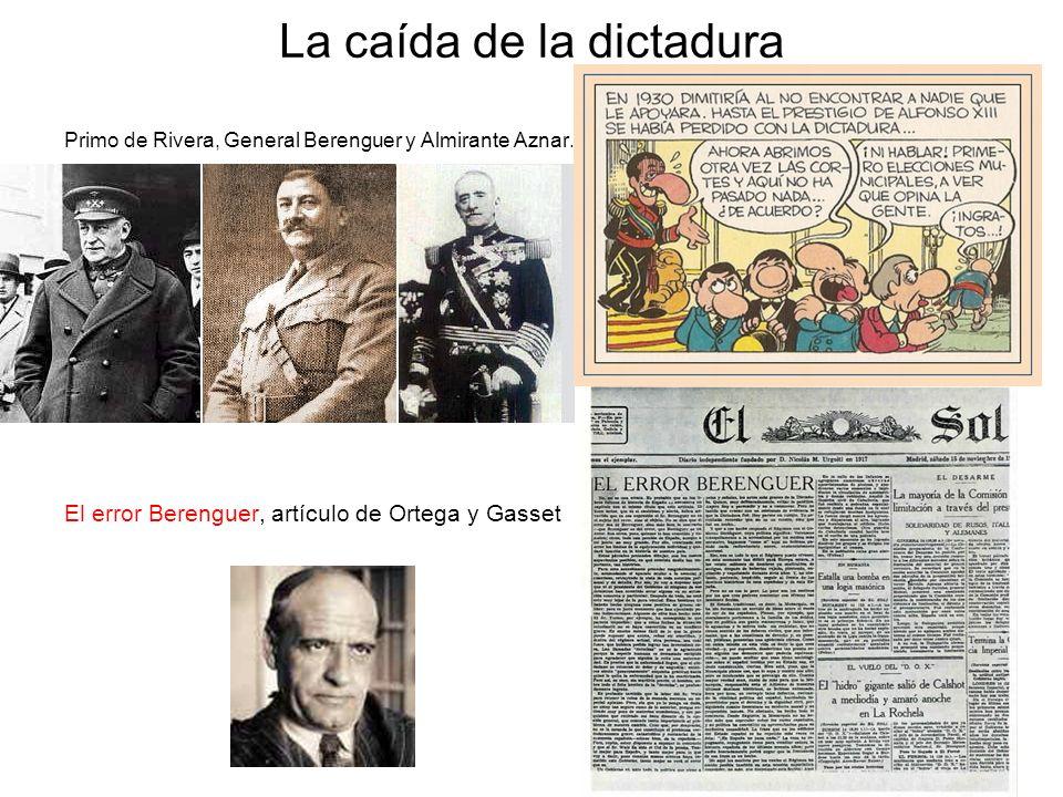 La caída de la dictadura Primo de Rivera, General Berenguer y Almirante Aznar. El error Berenguer, artículo de Ortega y Gasset