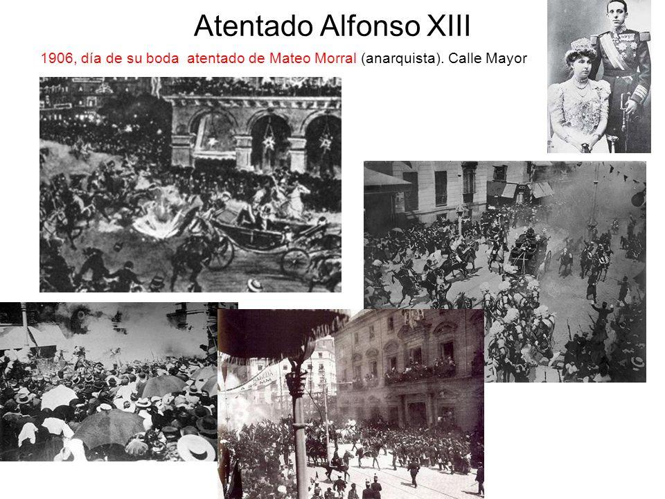 Atentado Alfonso XIII 1906, día de su boda atentado de Mateo Morral (anarquista). Calle Mayor