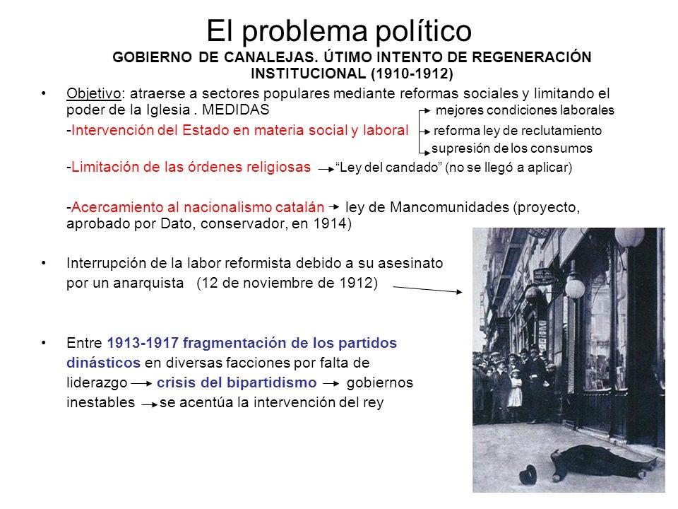 El problema político GOBIERNO DE CANALEJAS. ÚTIMO INTENTO DE REGENERACIÓN INSTITUCIONAL (1910-1912) Objetivo: atraerse a sectores populares mediante r