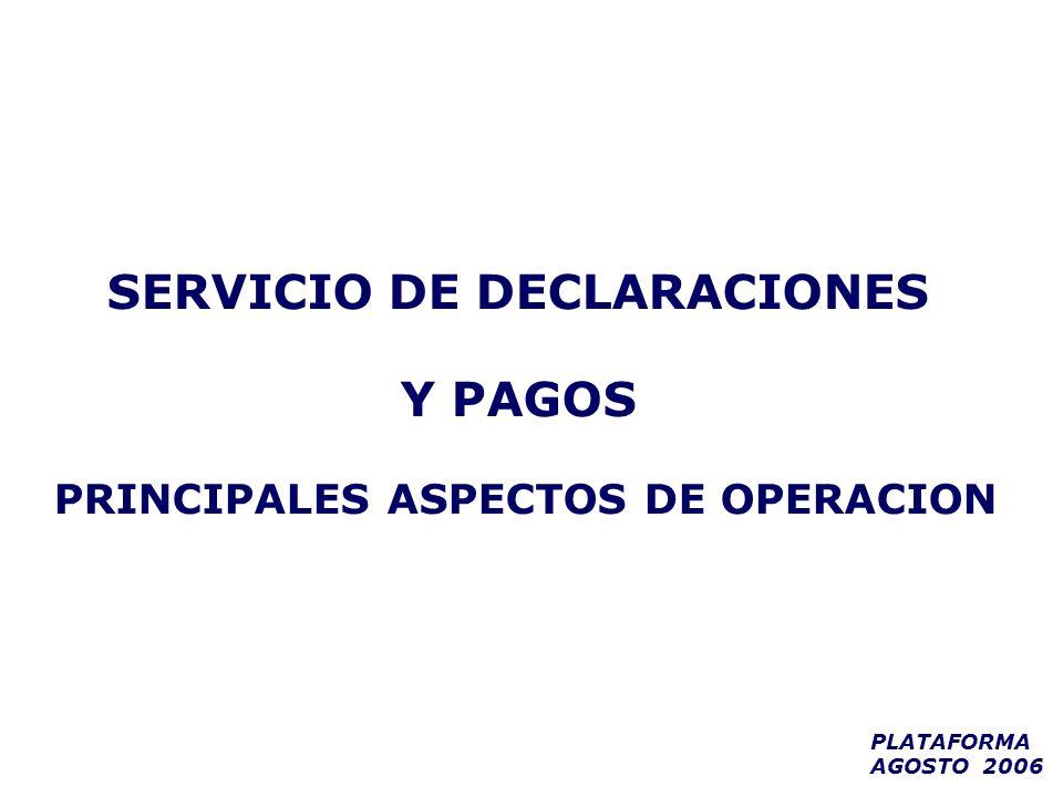 SERVICIO DE DECLARACIONES Y PAGOS PRINCIPALES ASPECTOS DE OPERACION PLATAFORMA AGOSTO 2006