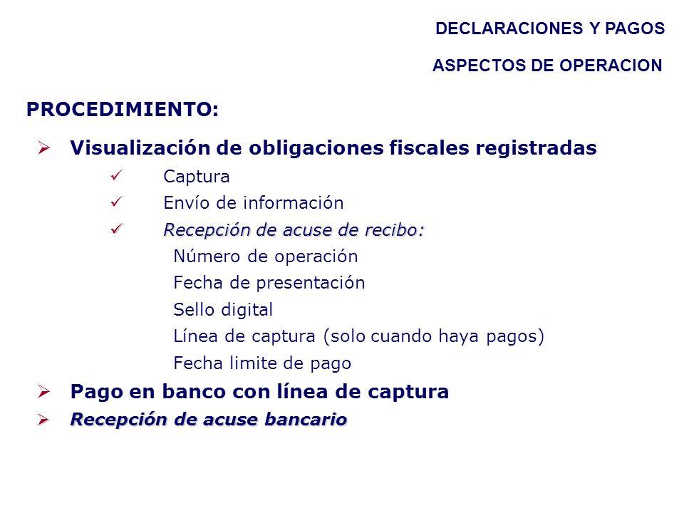 PROCEDIMIENTO: Visualización de obligaciones fiscales registradas Captura Envío de información Recepción de acuse de recibo: Recepción de acuse de rec
