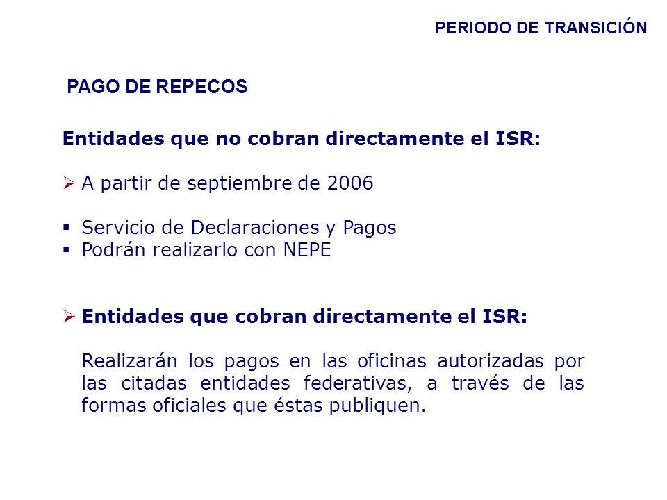 PAGO DE REPECOS Entidades que no cobran directamente el ISR: A partir de septiembre de 2006 Servicio de Declaraciones y Pagos Podrán realizarlo con NE