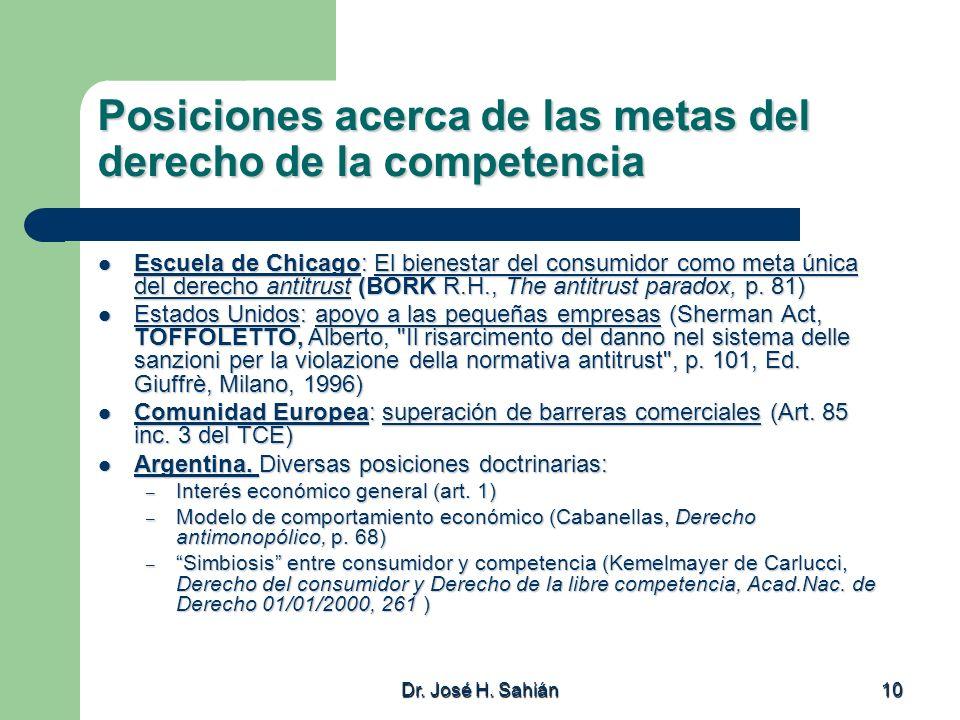 Dr. José H. Sahián 10 Posiciones acerca de las metas del derecho de la competencia Escuela de Chicago: El bienestar del consumidor como meta única del