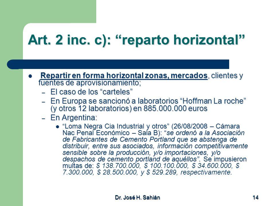 Dr. José H. Sahián 14 Art. 2 inc. c): reparto horizontal Repartir en forma horizontal zonas, mercados, clientes y fuentes de aprovisionamiento; Repart