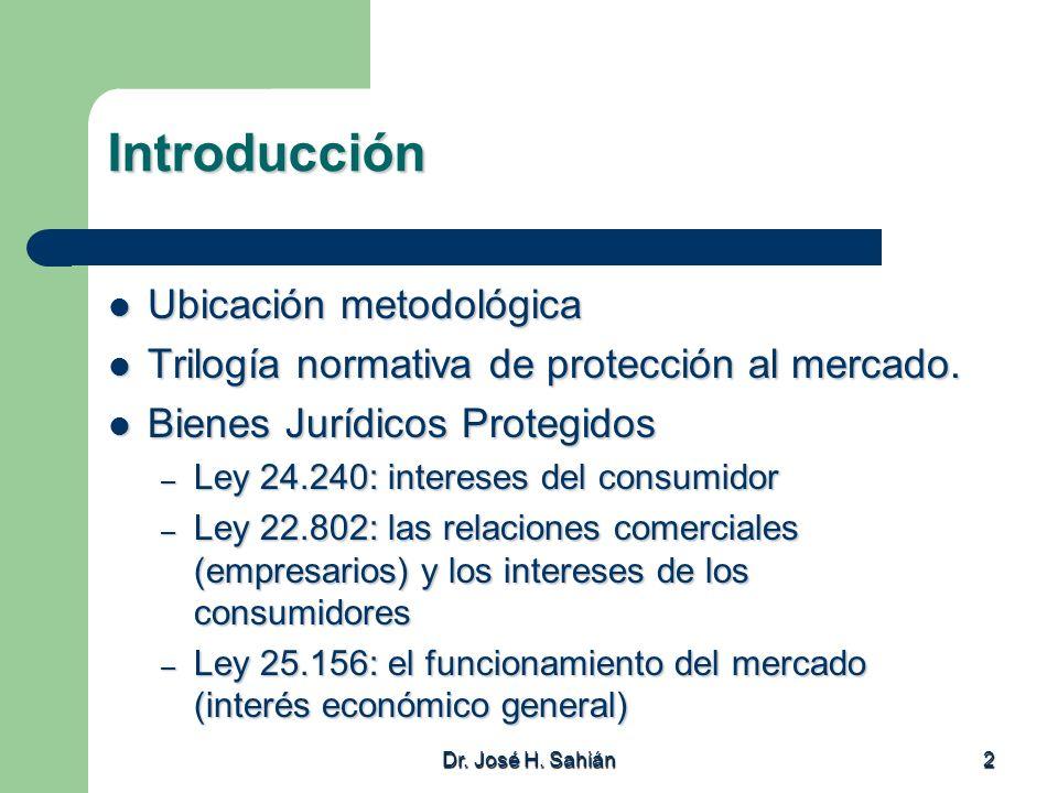 2 Introducción Ubicación metodológica Ubicación metodológica Trilogía normativa de protección al mercado. Trilogía normativa de protección al mercado.