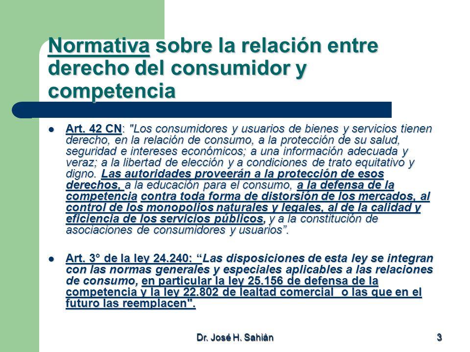 Dr. José H. Sahián 3 Normativa sobre la relación entre derecho del consumidor y competencia Art. 42 CN: