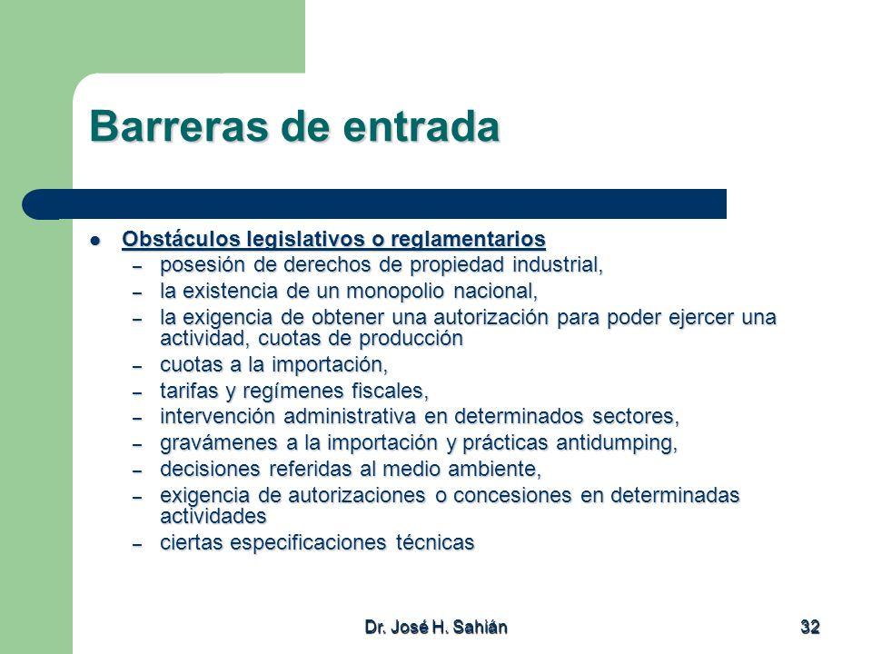Dr. José H. Sahián 32 Barreras de entrada Obstáculos legislativos o reglamentarios Obstáculos legislativos o reglamentarios – posesión de derechos de