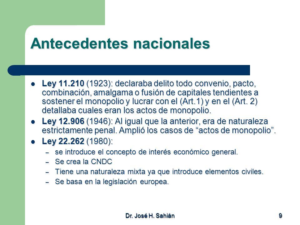 Dr. José H. Sahián 9 Antecedentes nacionales Ley 11.210 (1923): declaraba delito todo convenio, pacto, combinación, amalgama o fusión de capitales ten