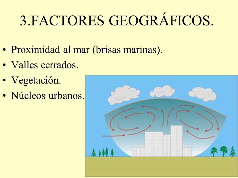 3.FACTORES GEOGRÁFICOS. Proximidad al mar (brisas marinas).
