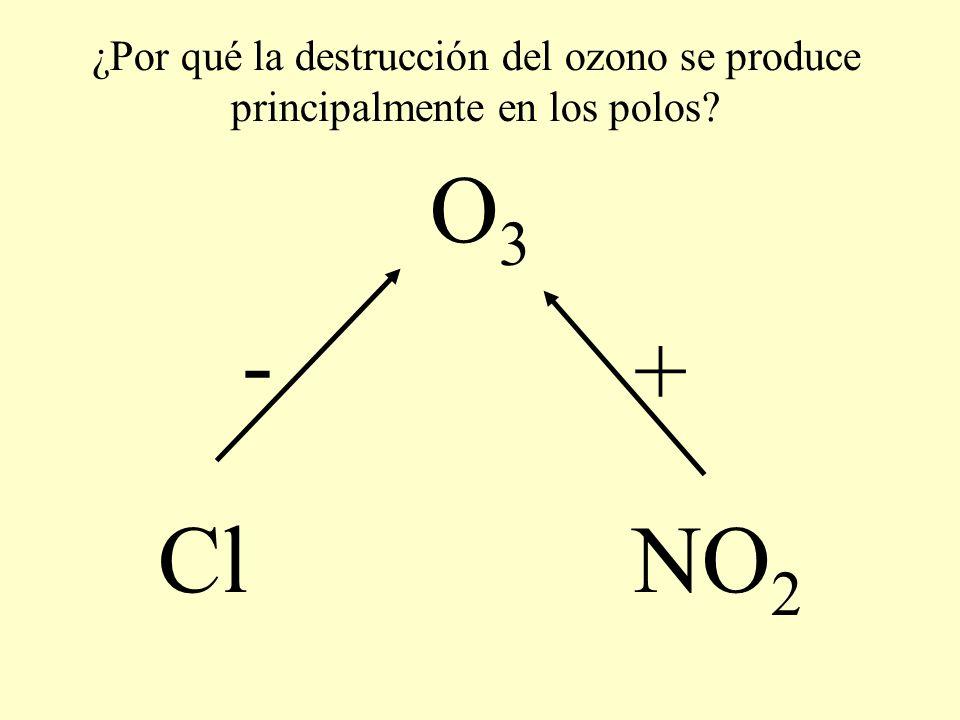 O 3 Cl NO 2 - + ¿Por qué la destrucción del ozono se produce principalmente en los polos