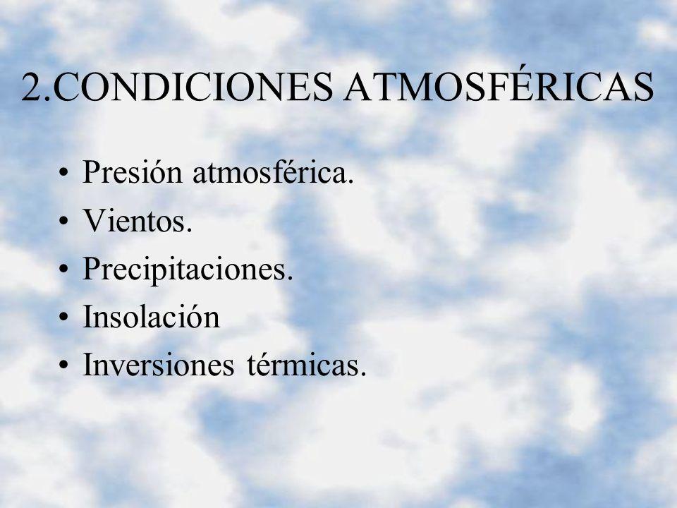 2.CONDICIONES ATMOSFÉRICAS Presión atmosférica. Vientos.