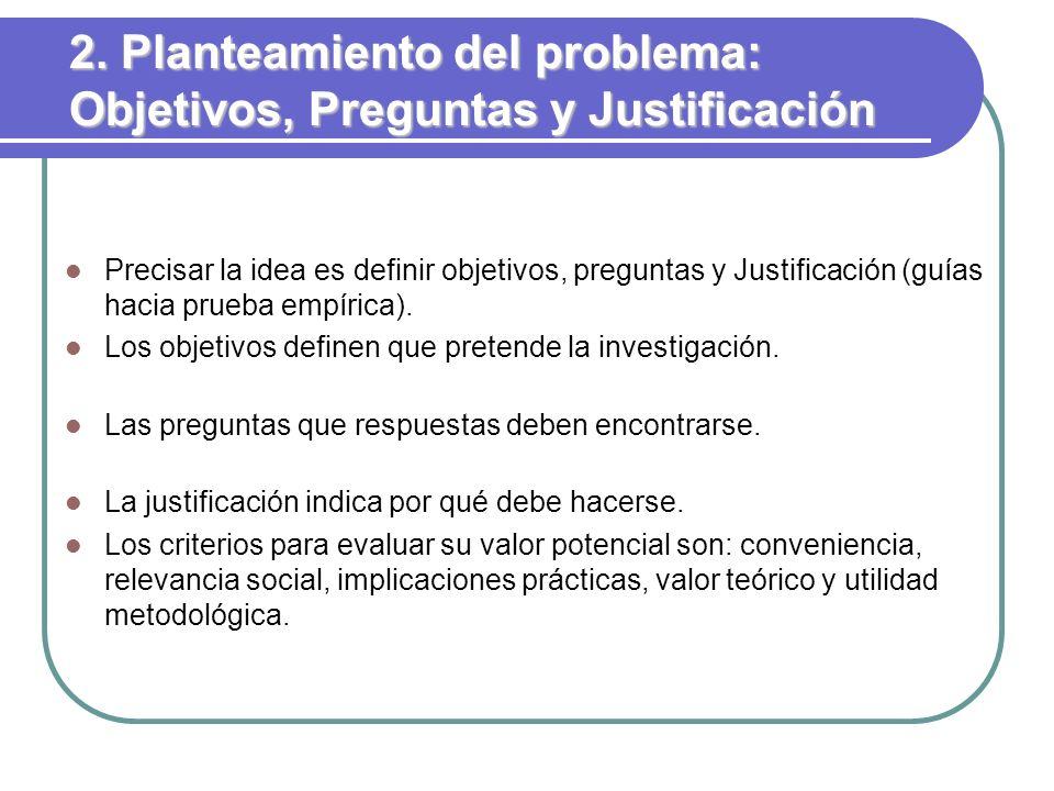 2. Planteamiento del problema: Objetivos, Preguntas y Justificación Precisar la idea es definir objetivos, preguntas y Justificación (guías hacia prue