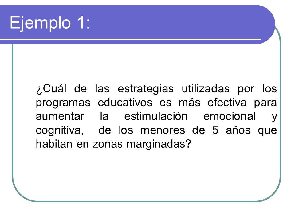 Ejemplo 1: ¿Cuál de las estrategias utilizadas por los programas educativos es más efectiva para aumentar la estimulación emocional y cognitiva, de lo