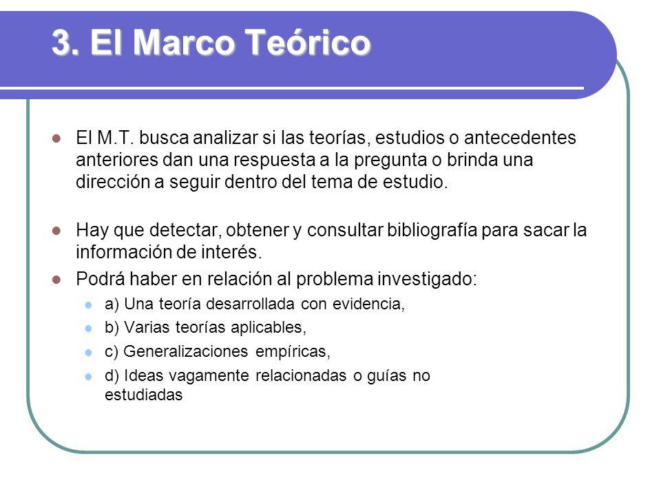 3. El Marco Teórico El M.T. busca analizar si las teorías, estudios o antecedentes anteriores dan una respuesta a la pregunta o brinda una dirección a