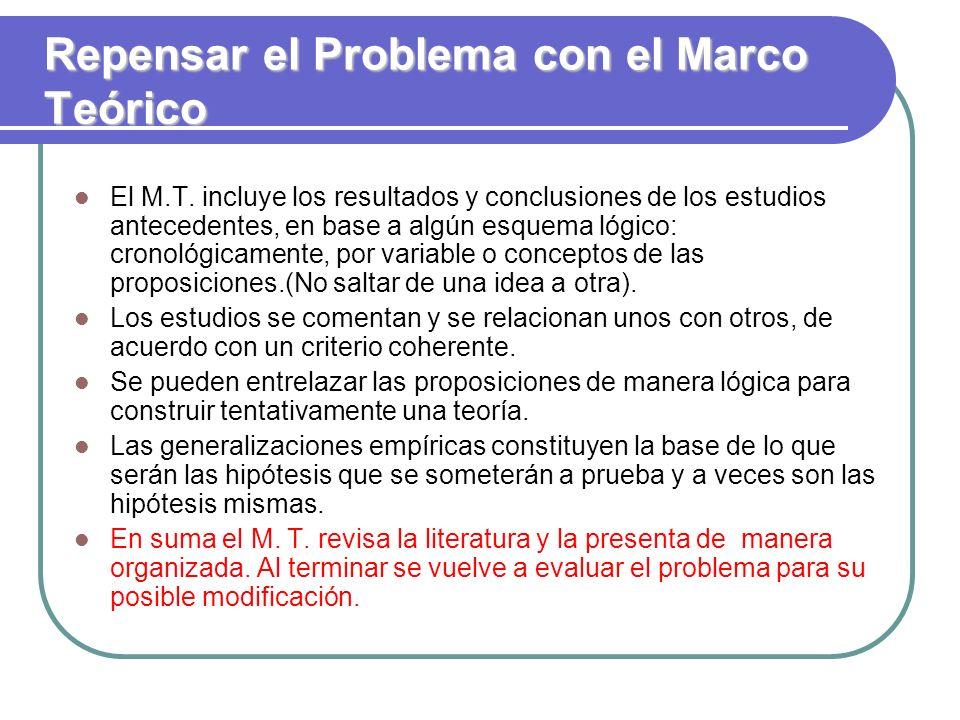 Repensar el Problema con el Marco Teórico El M.T. incluye los resultados y conclusiones de los estudios antecedentes, en base a algún esquema lógico: