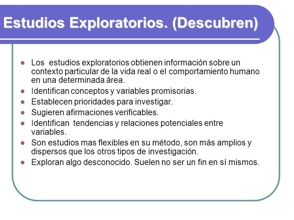 Estudios Exploratorios. (Descubren) Los estudios exploratorios obtienen información sobre un contexto particular de la vida real o el comportamiento h
