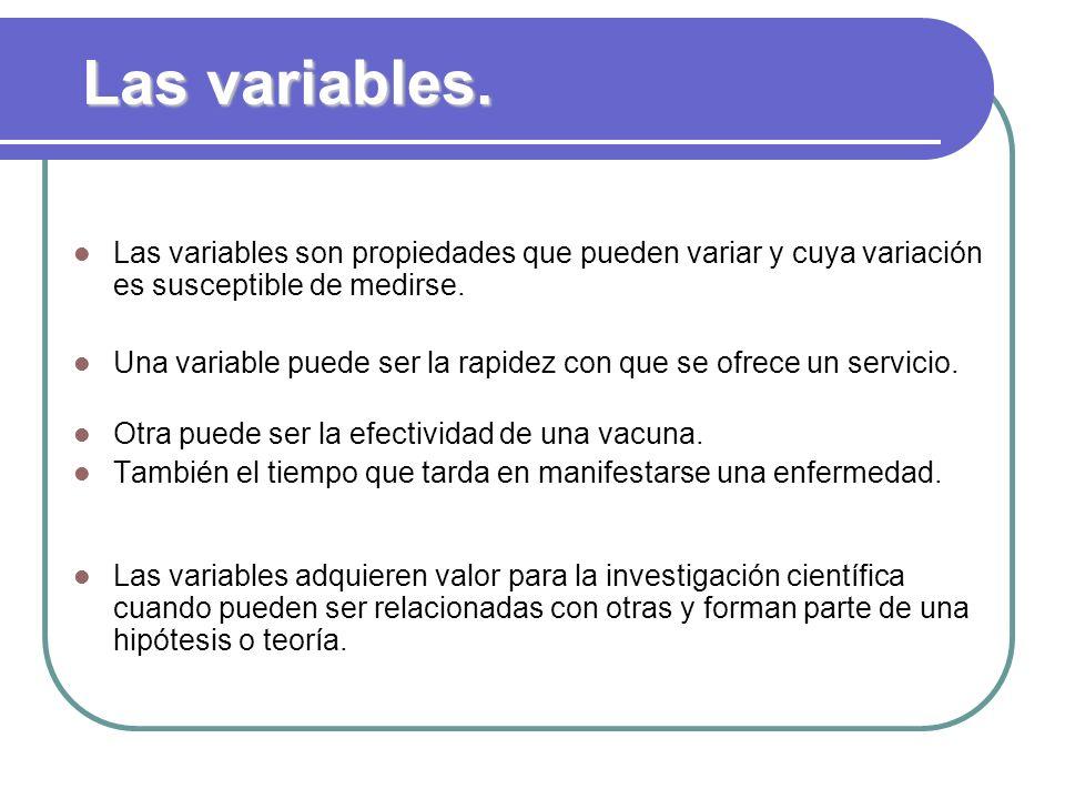 Las variables. Las variables son propiedades que pueden variar y cuya variación es susceptible de medirse. Una variable puede ser la rapidez con que s