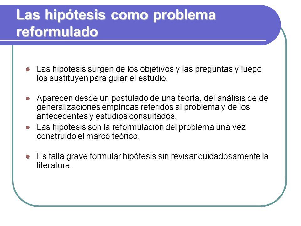 Las hipótesis como problema reformulado Las hipótesis surgen de los objetivos y las preguntas y luego los sustituyen para guiar el estudio. Aparecen d