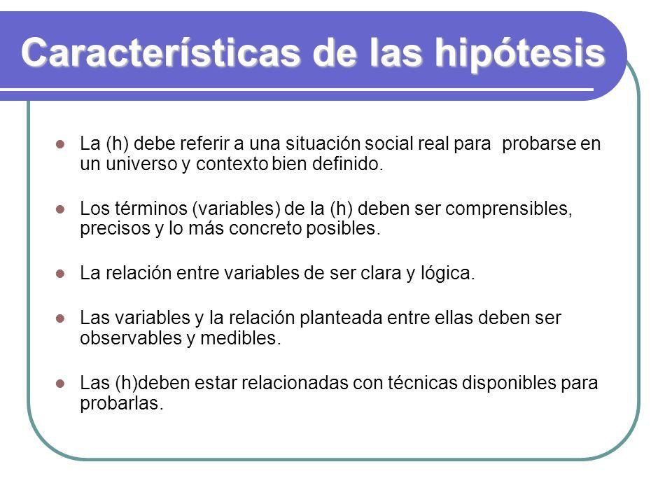 Características de las hipótesis La (h) debe referir a una situación social real para probarse en un universo y contexto bien definido. Los términos (