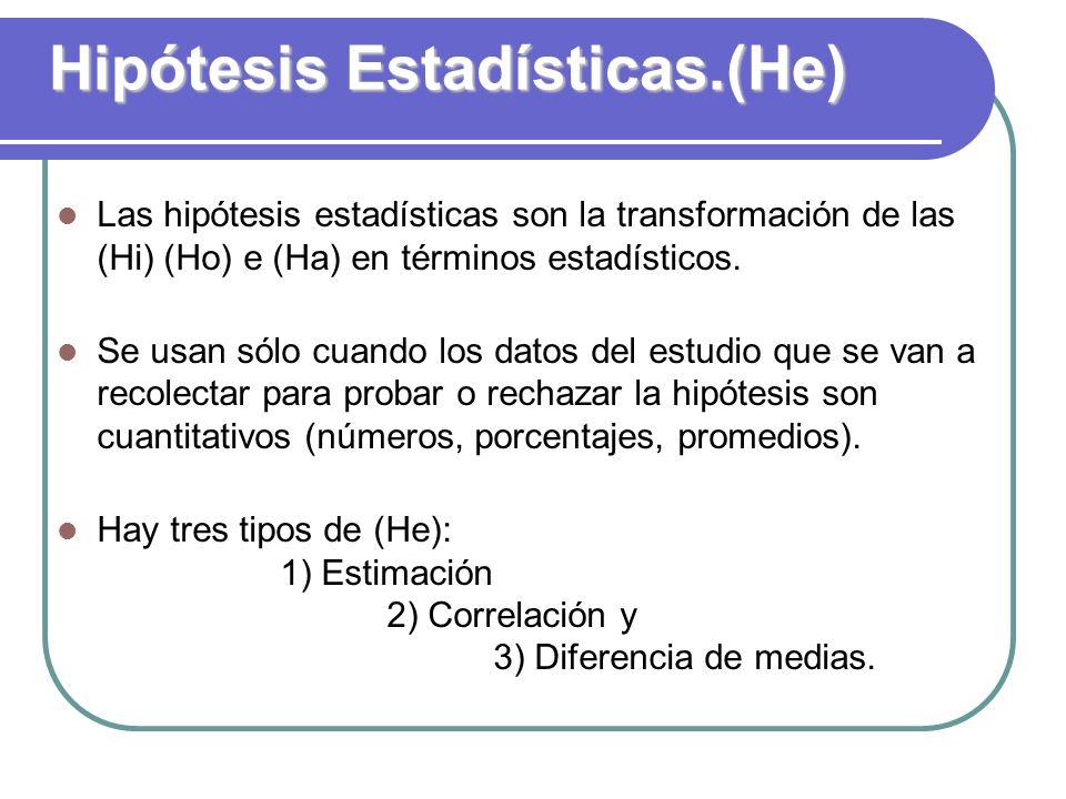 Hipótesis Estadísticas.(He) Las hipótesis estadísticas son la transformación de las (Hi) (Ho) e (Ha) en términos estadísticos. Se usan sólo cuando los