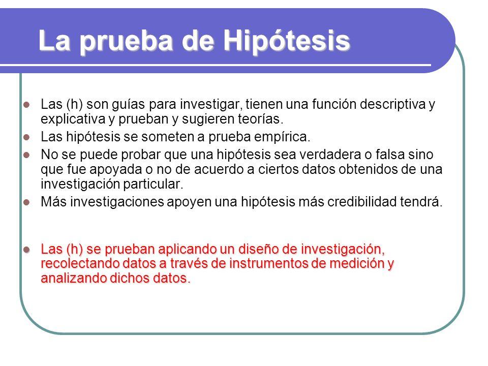 La prueba de Hipótesis Las (h) son guías para investigar, tienen una función descriptiva y explicativa y prueban y sugieren teorías. Las hipótesis se
