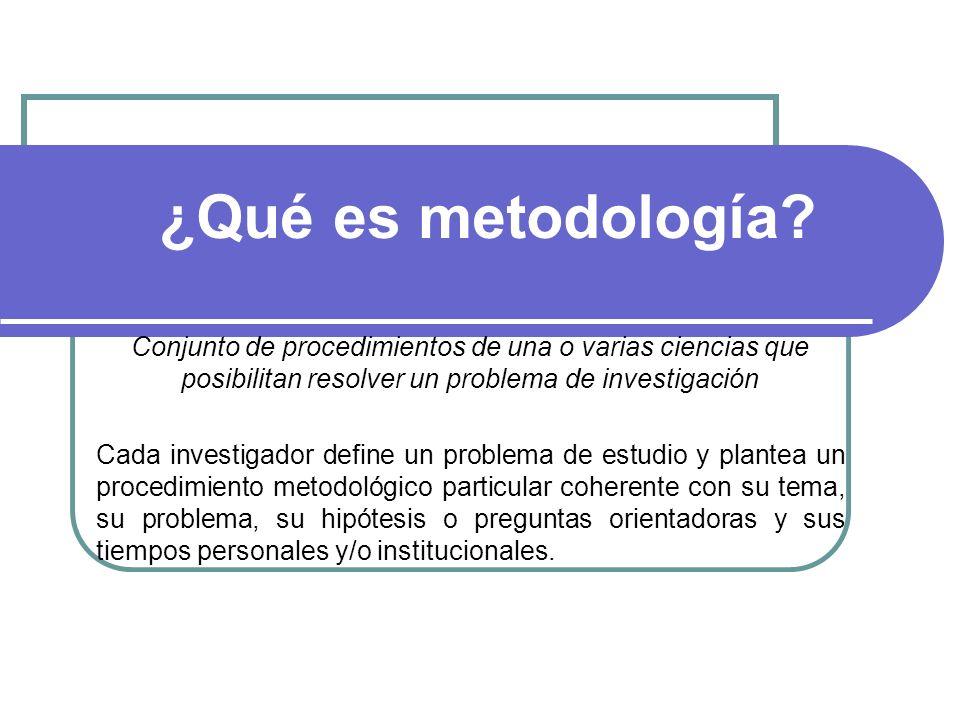 ¿Qué es metodología? Conjunto de procedimientos de una o varias ciencias que posibilitan resolver un problema de investigación Cada investigador defin