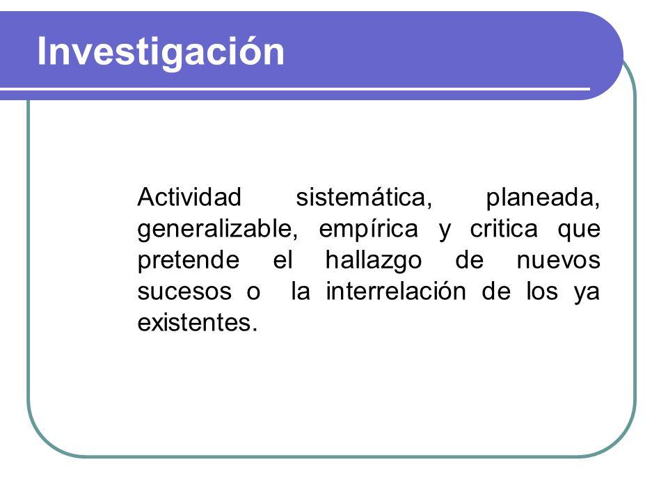 Investigación Actividad sistemática, planeada, generalizable, empírica y critica que pretende el hallazgo de nuevos sucesos o la interrelación de los