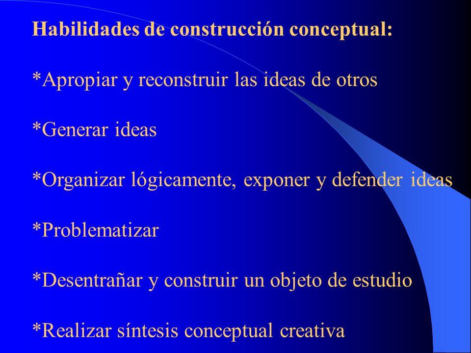 Habilidades de pensamiento: Pensar críticamente Pensar lógicamente Pensar reflexivamente Pensar de manera autónoma Flexibilizar el pensamiento