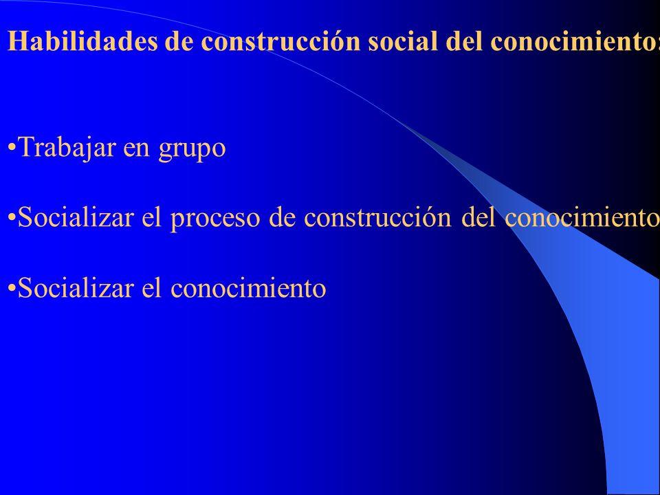 Habilidades de construcción metodológica: *Manejar o construir el método de investigación *Construir observables *Diseñar procedimientos para buscar,