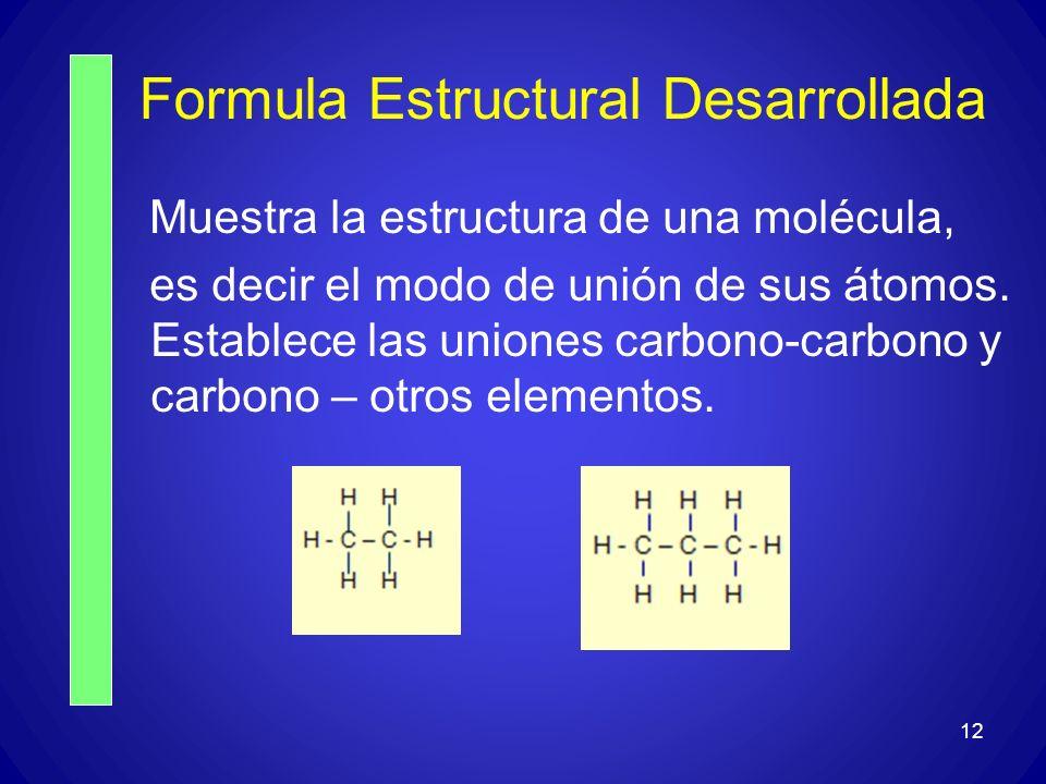 Formula Estructural Desarrollada Muestra la estructura de una molécula, es decir el modo de unión de sus átomos. Establece las uniones carbono-carbono