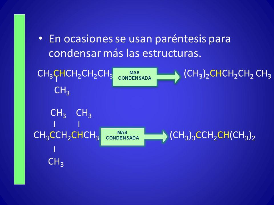 En ocasiones se usan paréntesis para condensar más las estructuras. CH 3 CHCH 2 CH 2 CH 3 (CH 3 ) 2 CHCH 2 CH 2 CH 3   CH 3 CH 3 CH 3   CH CH 3 CCH 2