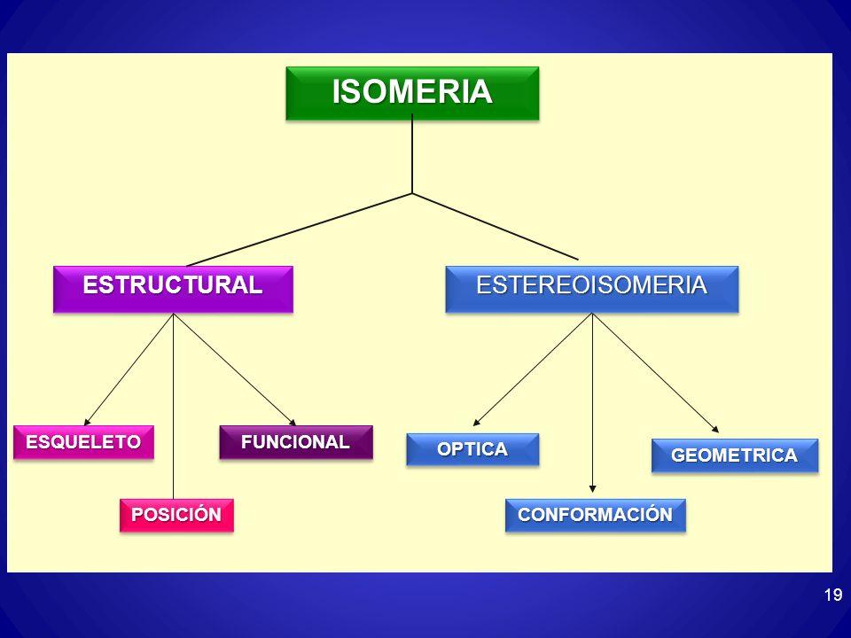 19 ISOMERIAISOMERIA ESTRUCTURALESTRUCTURALESTEREOISOMERIAESTEREOISOMERIA ESQUELETOESQUELETOFUNCIONALFUNCIONAL POSICIÓNPOSICIÓN OPTICAOPTICA CONFORMACI