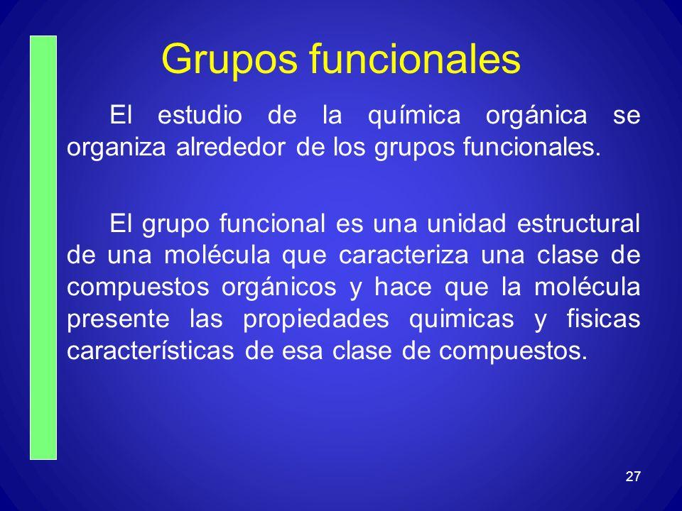 Grupos funcionales El estudio de la química orgánica se organiza alrededor de los grupos funcionales. El grupo funcional es una unidad estructural de