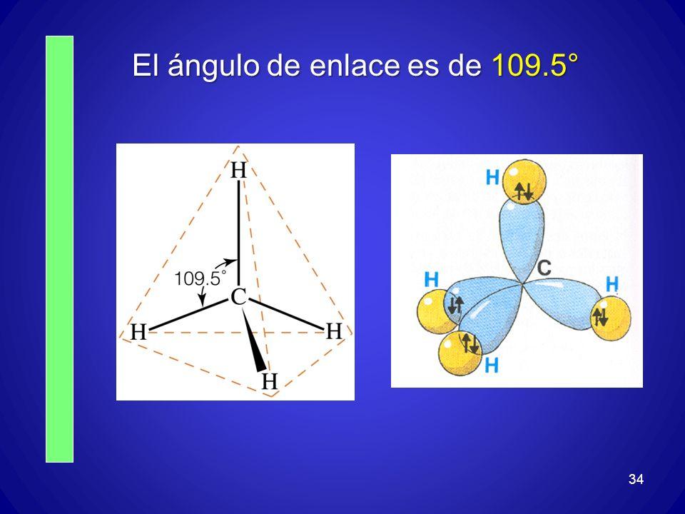 El ángulo de enlace es de 109.5° 34