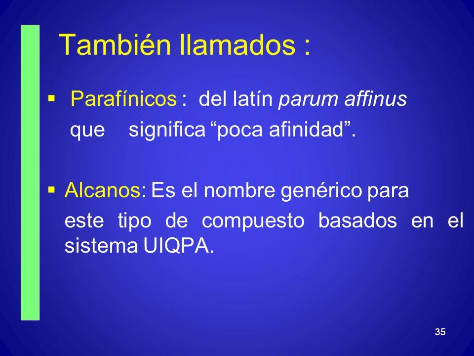 35 También llamados : Parafínicos : del latín parum affinus que significa poca afinidad. Alcanos: Es el nombre genérico para este tipo de compuesto ba