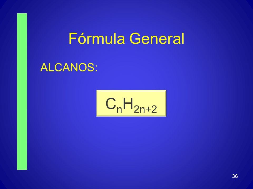 36 Fórmula General ALCANOS: C n H 2n+2