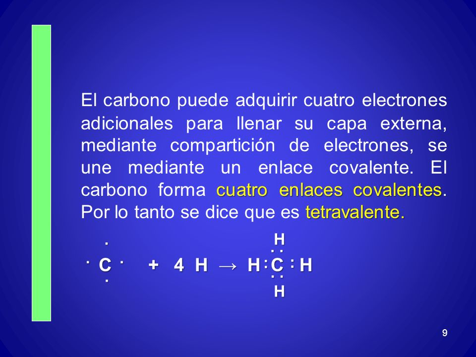 cuatro enlaces covalentes tetravalente. El carbono puede adquirir cuatro electrones adicionales para llenar su capa externa, mediante compartición de