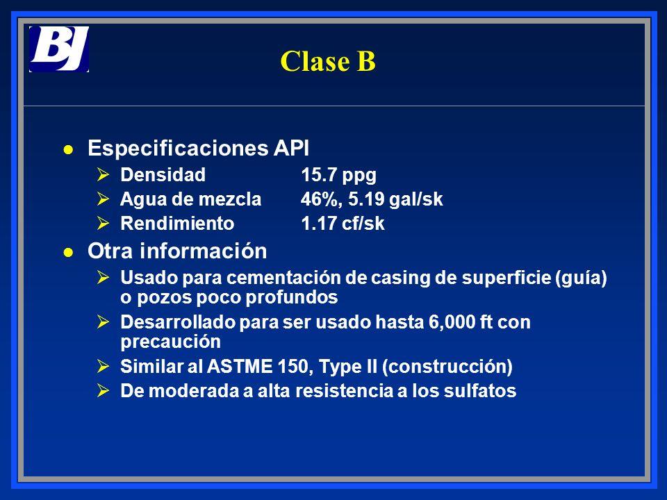 Clase B l Especificaciones API ØDensidad15.7 ppg ØAgua de mezcla46%, 5.19 gal/sk ØRendimiento1.17 cf/sk l Otra información ØUsado para cementación de