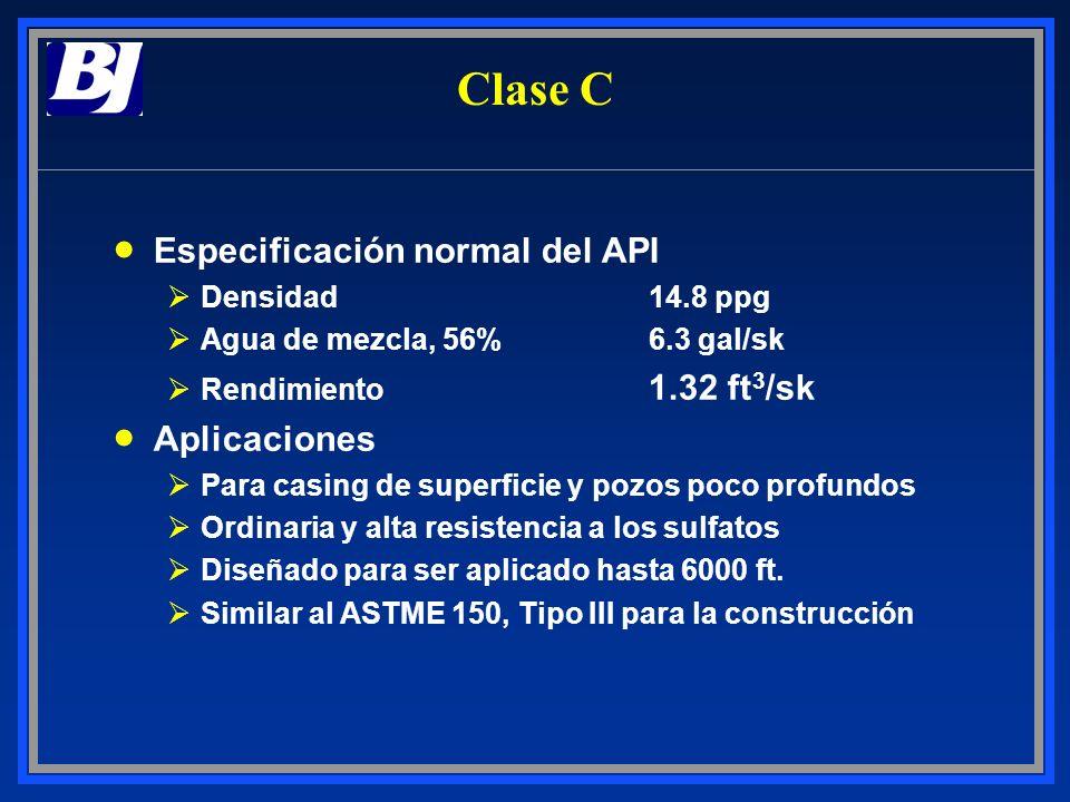 Clase C Especificación normal del API ØDensidad14.8 ppg ØAgua de mezcla, 56%6.3 gal/sk ØRendimiento 1.32 ft 3 /sk Aplicaciones ØPara casing de superfi