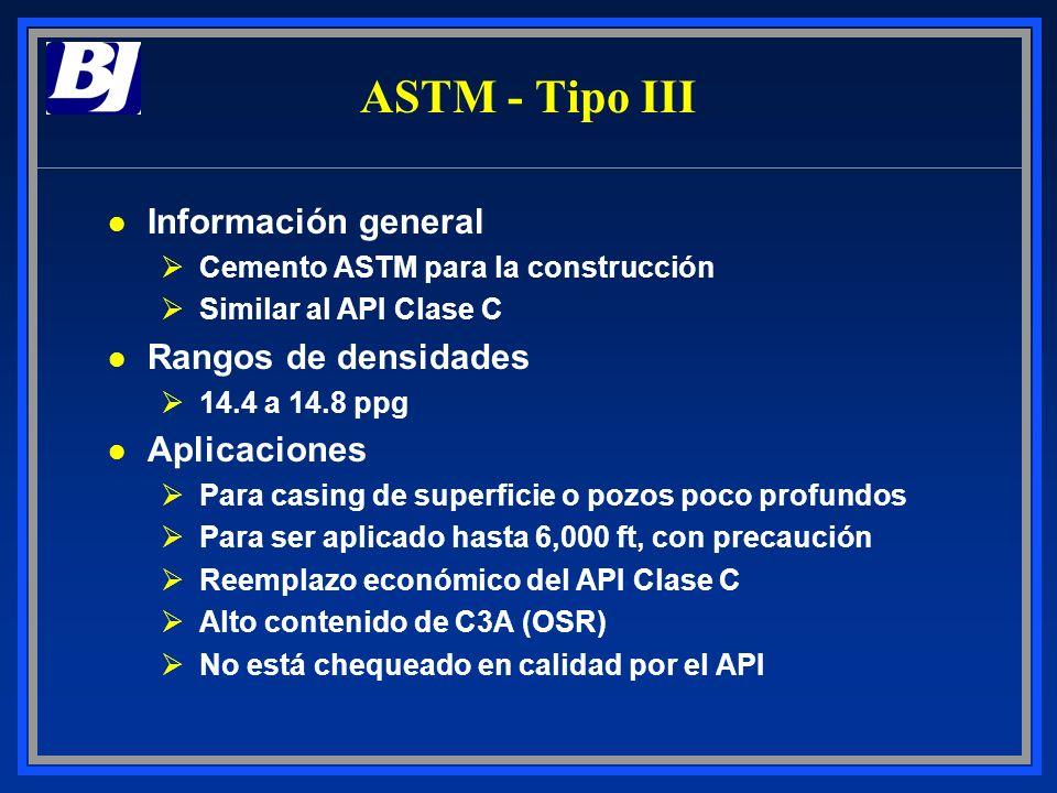 ASTM - Tipo III l Información general ØCemento ASTM para la construcción ØSimilar al API Clase C l Rangos de densidades Ø14.4 a 14.8 ppg l Aplicacione