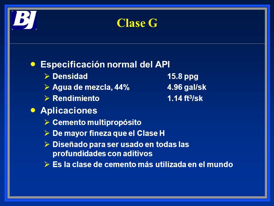 Clase G Especificación normal del API ØDensidad15.8 ppg ØAgua de mezcla, 44%4.96 gal/sk ØRendimiento1.14 ft 3 /sk Aplicaciones ØCemento multipropósito