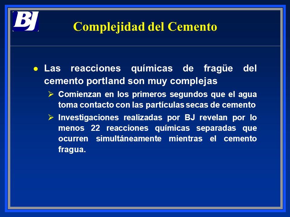 Complejidad del Cemento l Las reacciones químicas de fragüe del cemento portland son muy complejas ØComienzan en los primeros segundos que el agua tom