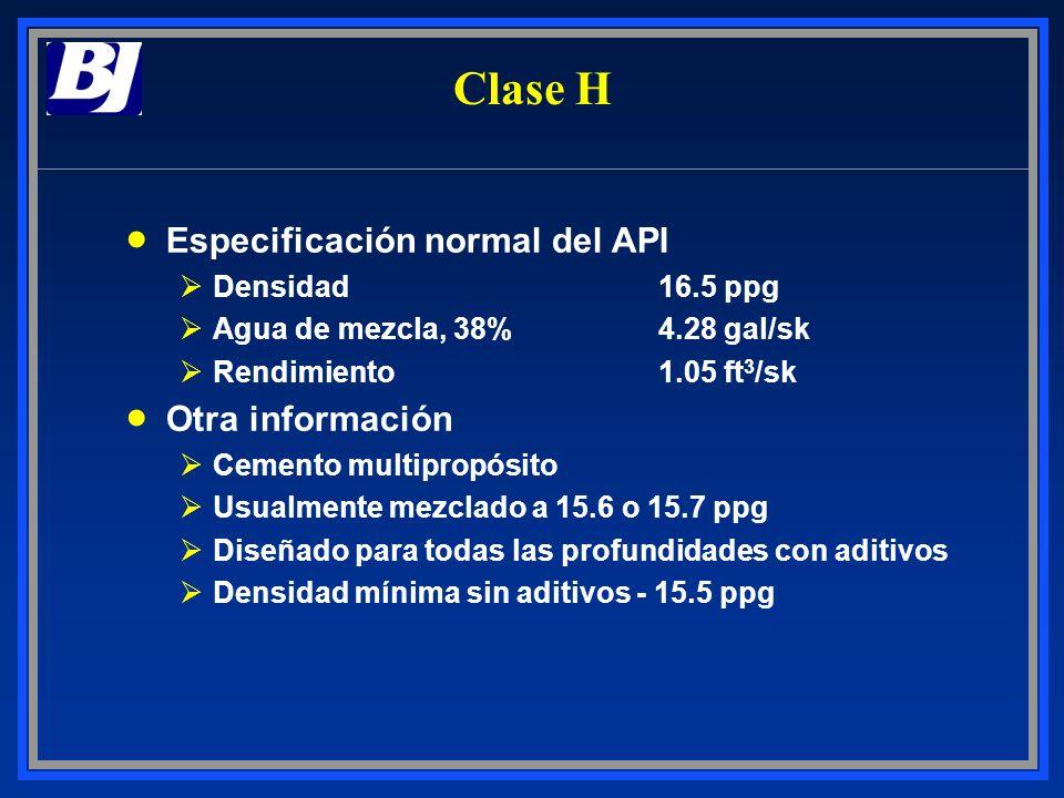 Especificación normal del API ØDensidad16.5 ppg ØAgua de mezcla, 38%4.28 gal/sk ØRendimiento1.05 ft 3 /sk Otra información ØCemento multipropósito ØUs