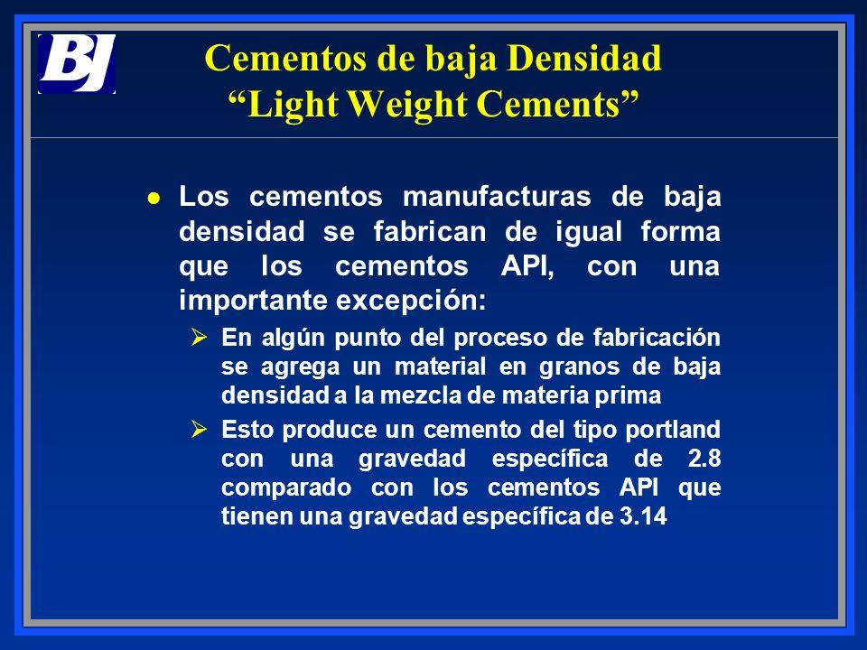 Cementos de baja Densidad Light Weight Cements l Los cementos manufacturas de baja densidad se fabrican de igual forma que los cementos API, con una i