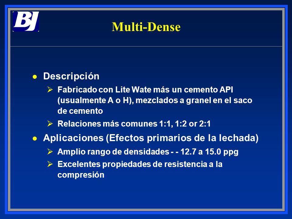 Multi-Dense l Descripción ØFabricado con Lite Wate más un cemento API (usualmente A o H), mezclados a granel en el saco de cemento ØRelaciones más com