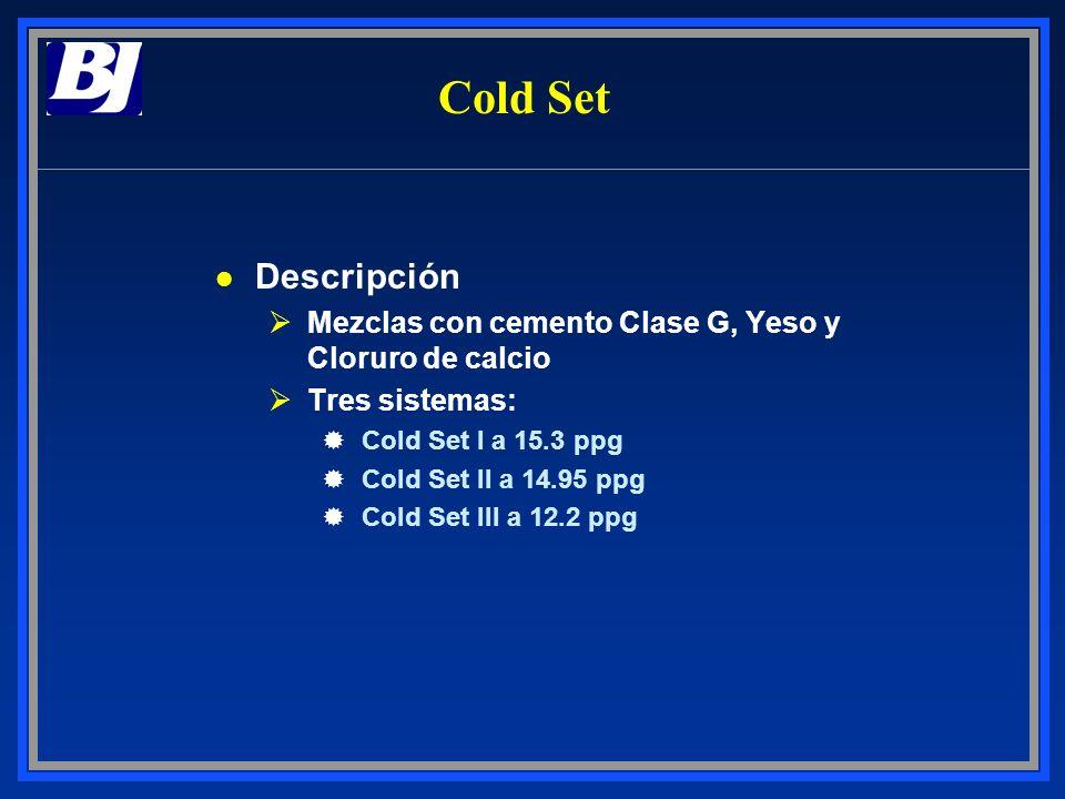 Cold Set l Descripción ØMezclas con cemento Clase G, Yeso y Cloruro de calcio ØTres sistemas: ®Cold Set I a 15.3 ppg ®Cold Set II a 14.95 ppg ®Cold Se