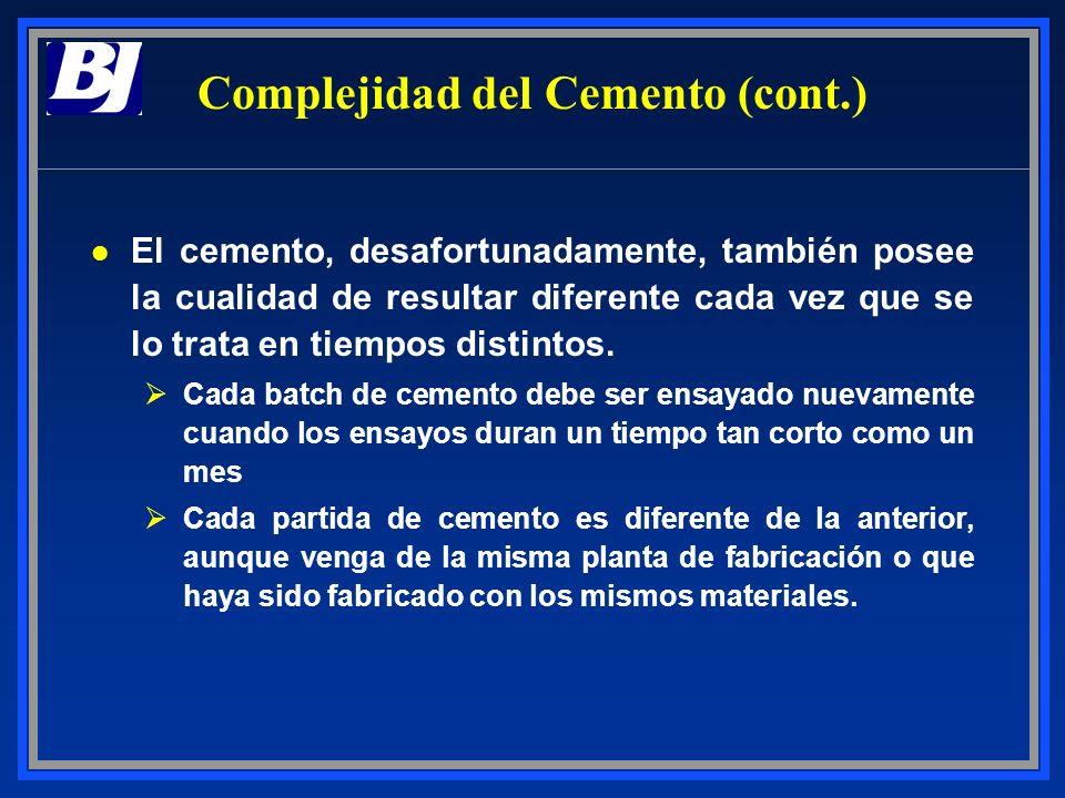 l Ya sea un cemento API o no, Clase G o Clase H (por ejemplo), depende dónde ha sido fabricado ØPequeñas diferencias en la materia prima pueden producir diferentes propiedades del producto final en las distintas Clases ØLos cementos Clases G y H se utilizan para realizar los mismos trabajos, pero en áreas geográficas diferentes ØLos cementos Clases G y H son básicamente iguales, pero los ensayos de laboratorio difieren uno de otro Complejidad del Cemento (cont.)